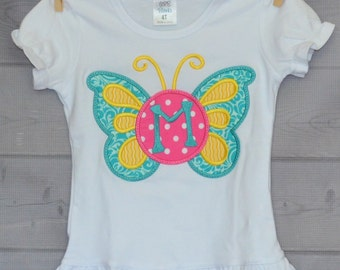 Personalized Butterfly or Flip Flops Monogram Applique Shirt or Onesie Girl