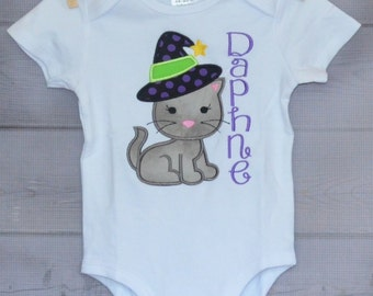 Personalized Halloween Cat with Witch's Hat Applique Shirt or Onesie for Boy or Girl