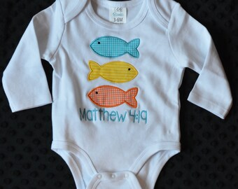 Personalized 3 Fish Applique Shirt or Onesie Girl or Boy