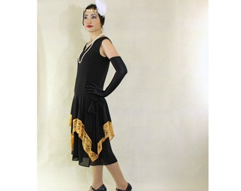 Flapper costume in black and goldenrod with handkerchief skirt, 1920s flapper dress, black Great Gatsby dress, 20er kleid, robe annees 20