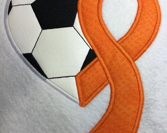 Soccer - Heart - Awareness Ribbon  -4 Sizes Included - Embroidery Design -   DIGITAL Embroidery DESIGN