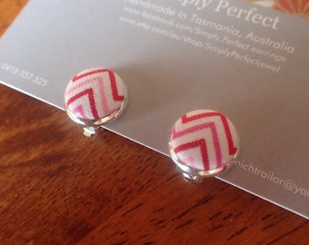Candy Coloured Zig Zag Studs and Clip On Earrings/Candy Stripe kids clip on earrings