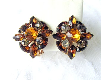 Rhinestone Cluster Autumn Earrings Rich Quartz Brown And Amber Topaz Mid-century Clip Back Collectible Gift Item 2257