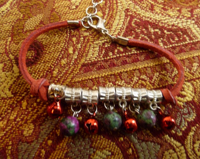 Neko Bell Charm Bracelet Cat Bell and Real Stone Custom Bracelet Your Choice of color Green Blue Red Yellow Silver Purple Cosplay Costume