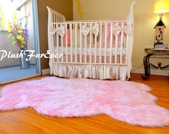 Elegant Nursery Area Rug Decor Plush Faux Fur Sheepskin Boy Girl Unisex Assorts  Colors Sizes Shaggy Baby