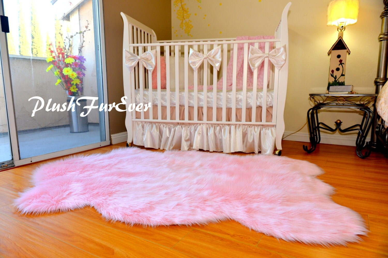 nursery area rug decor plush faux fur sheepskin boy girl. Black Bedroom Furniture Sets. Home Design Ideas
