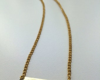 Custom Metal Stamped Necklace on Gold Chain