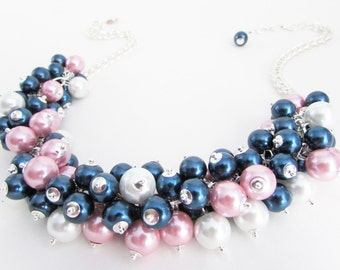 Navy Blue, Pink and White Pearl Cluster Necklace, Pink Chunky Necklace, Bridesmaid Necklace, Pink Wedding Jewelry, Navy Blue Beaded Necklace