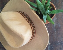 vintage corduroy cowboy hat // 1970s glam tan fancy western hat // southwestern style