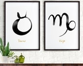 Zodiac print Set of 2, Astrology print, Constellation minimalist art print, Black and white ink art, Bedroom art, For couples