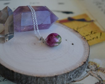 Small Rose Tear Drop Necklace