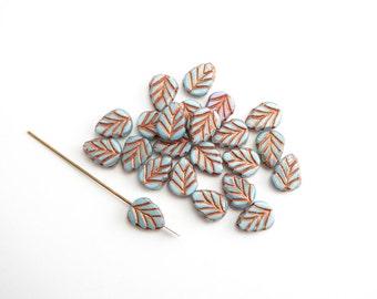 10 x 11x8mm Blue Copper Leaf Czech Glass Beads, Leaf Czech Glass Beads, Blue Leaf Beads, Copper Leaf Beads 11x8mm LEA0046