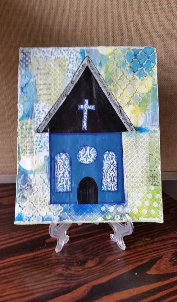 Mixed Media Church One Of A Kind Inspirational Wall Art