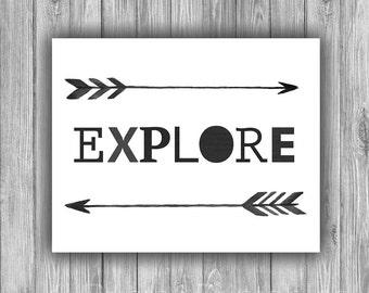 Explore art print, Nursery art, Digital download, Print, Tribal print, black white watercolor, modern typography print- Explore Arrows