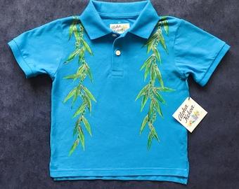 boys Hawaiian shirt, Hawaii, beach ring bearer, ti leaf lei, boys polo shirt, boys luau outfit, aloha shirt, aloha, hawaiian gift, size: 5T