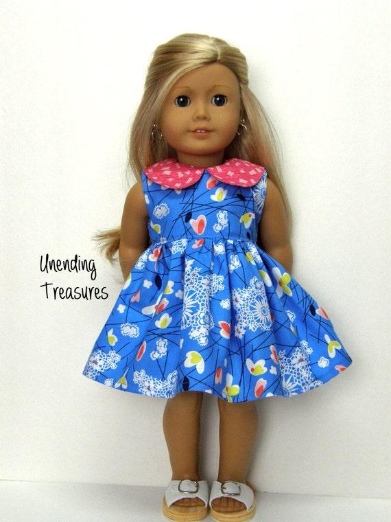18 inch doll clothes AG doll clothes AG doll dress  cobalt blue floral dress with raspberry peter pan collar