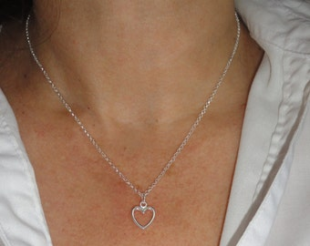 Sterling silver heart necklace, Heart necklace, Silver heart necklace, Sweetheart necklace, Layering necklace, Minimalist necklace
