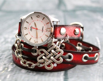 Red and Black Leather Wrist Watch for Women, Red Leather Wrap Watch with Celtic Charm, Silver Wrap Bracelet, Women's leather gift,
