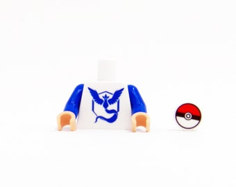 Pokemon Go Team Mystic Torso (Blue) - miniBIGS Custom LEGO Figure Part made from Genuine LEGO Minifigure Elements
