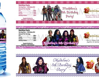 The Descendants Water Bottle Labels - PRINTED FOR YOU - Birthday Party Supplies Favors