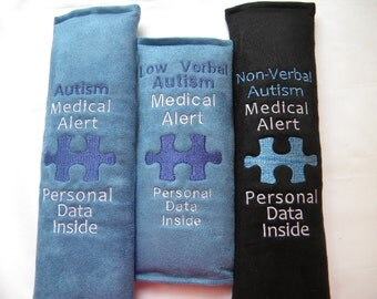 Autism Medical Alert, Autism ID Tag, Autism Seat Belt Wrap, Seat Belt Cover, Medical Alert, Medical ID Tag, Autism Baby Carrier Wrap