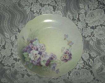 Porcelain Pansy Flower Plate