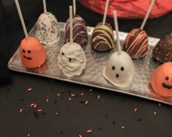Halloween Ghost or Pumpkin Brownie Pops Chocolate Covered – 1 Dozen