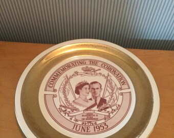 Vintage Queen Elizabeth II 22 kt Gold Rimmed 1953 Coronation Souvenir Plate