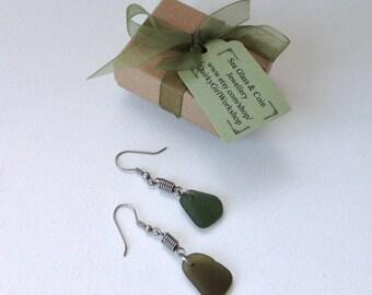 Sea glass earrings, green beach glass, English seaglass jewelry, stainless steel, unusual design, boho, beach, natural, genuine, hippie,