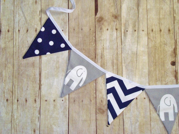 Navy Bunting For a Circus Theme Party -  Elephants, chevron and Polka dot fabrics - Circus Decor - Elephant Banner - Triangle Flags