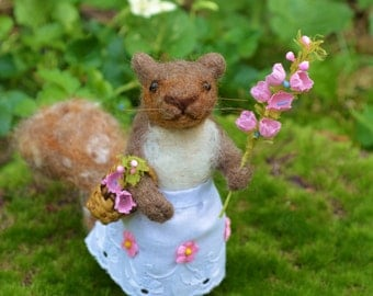 Spring Squirrel one of a kind needle felted sculpture