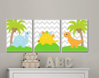 Dinosaur Nursery Wall Art Prints, Nursery Prints, Baby Boy Dinosaur Nursery Wall Art Print Bedroom Decor - H136