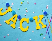 "Custom Pom Pom Felt Baby Name Banner Garland / Yellow Blue Poms / Modern Nursery / Other Colors Available / 4"" Upper Case"