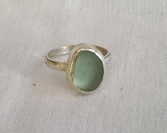 Sterling Silver Genuine Sea Glass Ring - Sea Foam Beach Glass - Hand Made - Ft Bragg Beach Sea Glass