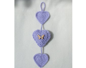 Crochet 3 Heart Hanging - Custom - MADE TO ORDER