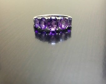 Sterling Silver Amethyst Engagement Ring - Silver Amethyst Wedding Ring - Five Stone Amethyst Ring - Oval Amethyst Ring - Five Stone Ring