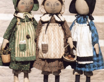 Primitive PATTERN Early Style, Standing Settler Sisters
