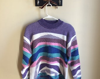 1980s Checkered Sweater Size M-L