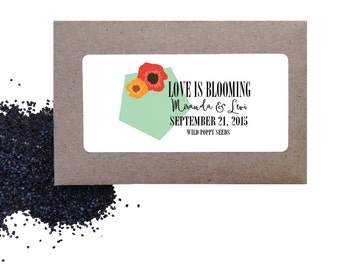 Wedding flower seed favors - Wild Poppies seed favors for wedding or shower - love is blooming