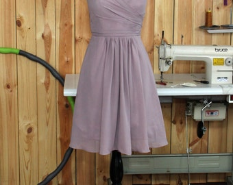 Dusty Purple Bridesmaid Dress, Chiffon Evening Dress, A line Prom Dress, Sweetheart Wedding Dress Knee length