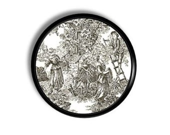 Victorian Dresser Knob - Petite Black White French Historical Countryside Toile - Shabby Cottage, Chic Country - Drawer Pull, Cabinet 1214L