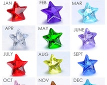 Diamond BIRTHSTONE STARS Floating Charms - Fits all Living Memory Origami Lockets, Key Chains, Bracelets - Children, Grandchild, Niece