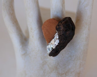 "Ring ""Oro di Mare"" no. 224 wood leather heart brown silver unique hand gilded driftwood art OOAK artistic designer jewelry"