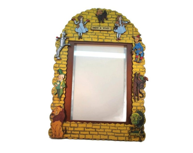 5x7 Wizard of Oz Photo Picture Frame, OOAK, One of a Kind. Handmade, Hand Painted, Yellow Brick Road