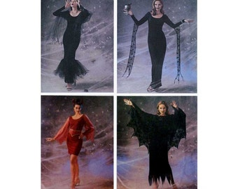 Women's Halloween Costume Sewing Pattern, Plus Size 18, 20, 22 Morticia Addams Family Goth, Dress and Cape Uncut Butterick 3554