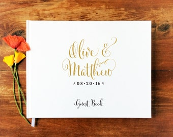 Wedding Guest Book Landscape #1 - Hardcover - Wedding Guestbook, Custom Guest Book, Personalized Guest Book - Gold Calligraphy
