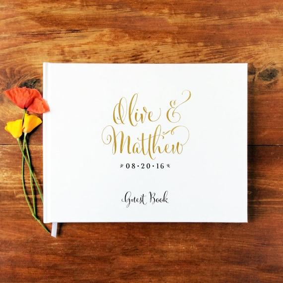 Wedding Guest Book Landscape #1 - Hardcover - Wedding Guestbook, Custom Guest Book, Personalized Guest Book - Gold Calligraphy