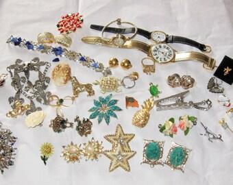 COUPON SALE! Huge Vintage Jewelry Lot-Lots Wearable-Brooches-Pins-Watches-Earrings-Bracelet-Rings Repair-Destash-Craft-Altered Art-Repurpose