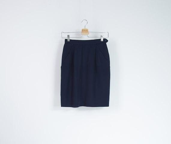 SALE - 80s Yves Saint Laurent Rive Gauche Pencil Wool Skirt / Size xs/s