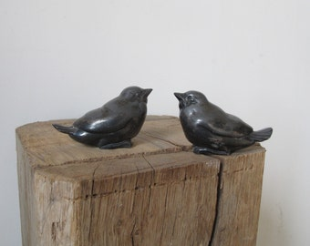 two birds sparrows bronze statues figurines cast metal